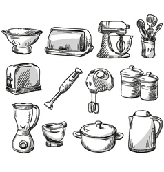 Set of kitchen appliance vector image vector image