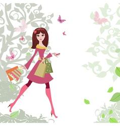 Woman shopping3 vector image vector image