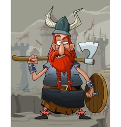 cartoon funny man Viking with a red beard vector image