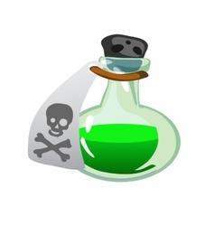 Cartoon potion bottle Vial with green liquid vector image