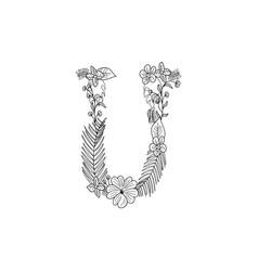 letter u floral ornament vector image