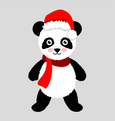 panda christmas hat and scarf for greeting card vector image vector image