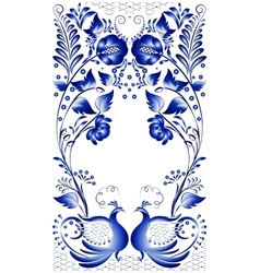 Russian national ornament with the birds at the vector image
