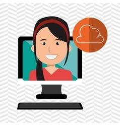 social marketing user desktop computer isolated vector image
