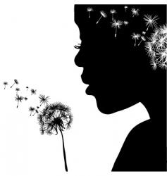 woman portrait with dandelion vector image vector image
