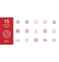 15 ban icons vector image