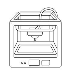 3D Printer in outline style isolated on white vector image