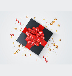 abstract gift box background with bow and ribbon vector image