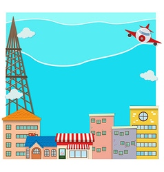 Airplane flying over the city vector