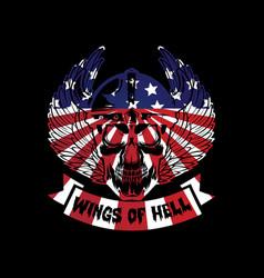 American wings hell vintage t-shirt design vector