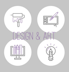 Art icons set design linear vector