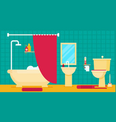 Bathroom with furniture flat style vector
