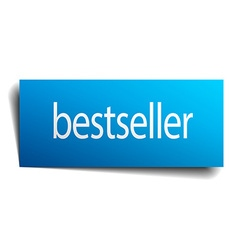 Bestseller blue square isolated paper sign on vector