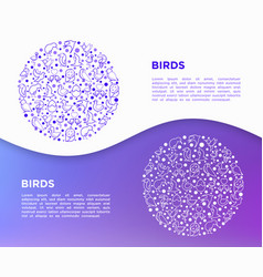 birds concept in circle with thin line icons vector image