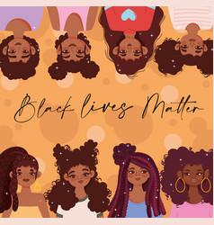 black lives matter young beautiful women vector image