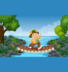 Boy running over a river bridge vector