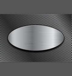 brushed metal oval plate on perforated background vector image