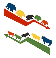Bulls and bears Rise and fall of quotations on vector image