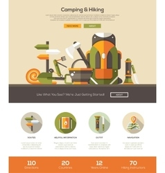 Camping hiking website template with header and vector