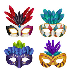 carnival masks masquerade party celebration vector image