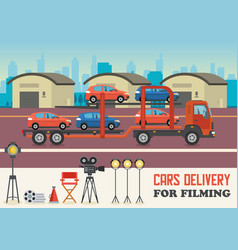 cars delivery for filming vector image
