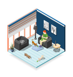 Cats ordinary life isometric composition vector