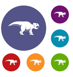 ceratopsians dinosaur icons set vector image