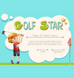 certificate template for golf star vector image