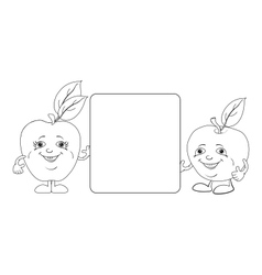 Character apples and poster outline vector
