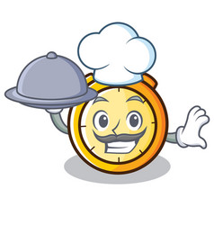 Chef with food chronometer character cartoon style vector
