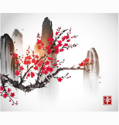 Cherry sakura tree branch in blossom and mountains vector