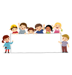 children holding blank sign banner vector image