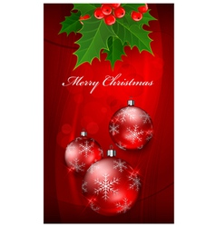 Christmas background with balls on red vector image