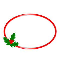 christmas greeting card red oval border template vector image
