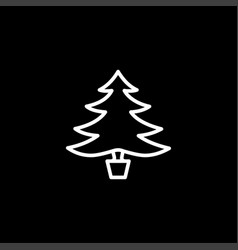 christmas tree line icon on black background vector image