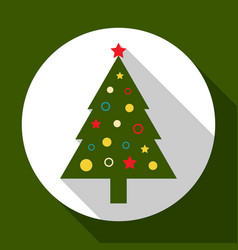 christmas tree on green background with long vector image