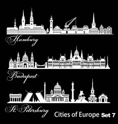 City in europe - saint petersburg budapest vector