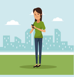 City landscape background with woman social vector