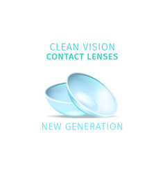clean vision contact lenses on white background vector image