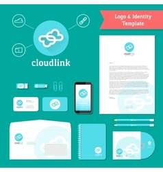 Cloud Link Logo and Identity Template vector image
