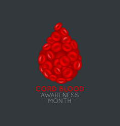 cord blood awareness month logo icon vector image