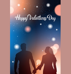couple silhouette holding hands over glowing bokeh vector image