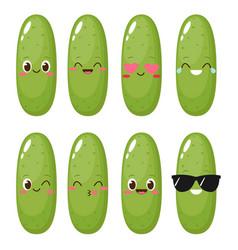 Cute happy cartoon cucumber character set vector