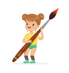 cute smiling little girl holding giant paintbrush vector image