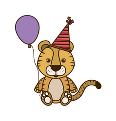 Cute tiger with helium balloon vector