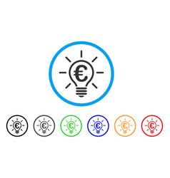 euro idea bulb rounded icon vector image