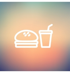 Fast food meal thin line icon vector image