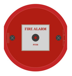 fire alarm red fire alarm on white wall vector image