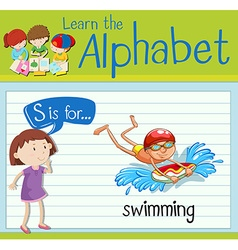 Flashcard letter S is for swimming vector image