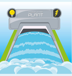 flat concept hydroelectry plant generator energy vector image